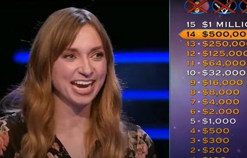 """Glumica je osvojila 500.000 dolara u """"Milioneru"""", od pitanja za MILION je odustala, da li znate odgovor?"""