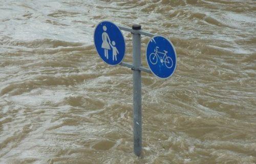 Oduševljeno dočekao poplavu da može da zapliva po ulici (VIDEO)