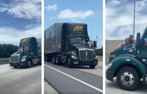 U PUNOJ BRZINI: Okršaj na haubi kamiona šokirao vozače (VIDEO)