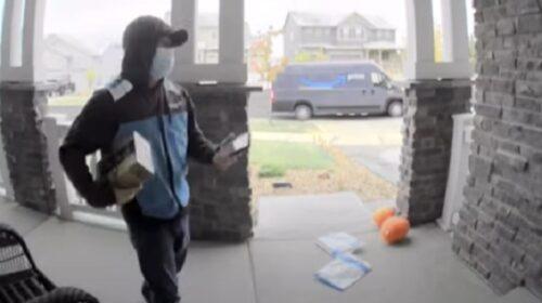 Biće ovo težak dan: Dostavljač DVA puta pao za manje od MINUTA ispred kuće klijenta (VIDEO)
