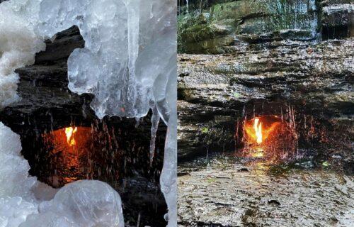 "Pomislićete da vas oči varaju: ""Eternal Flame Falls"" - mesto gde je VATRA jača od VODE (FOTO+VIDEO)"