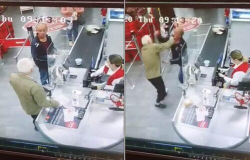 Izbila TUČA PENZIONERA u prodavnici! Stali na kasu, pa nastao HAOS, kasirka morala da ih razdvaja (VIDEO)