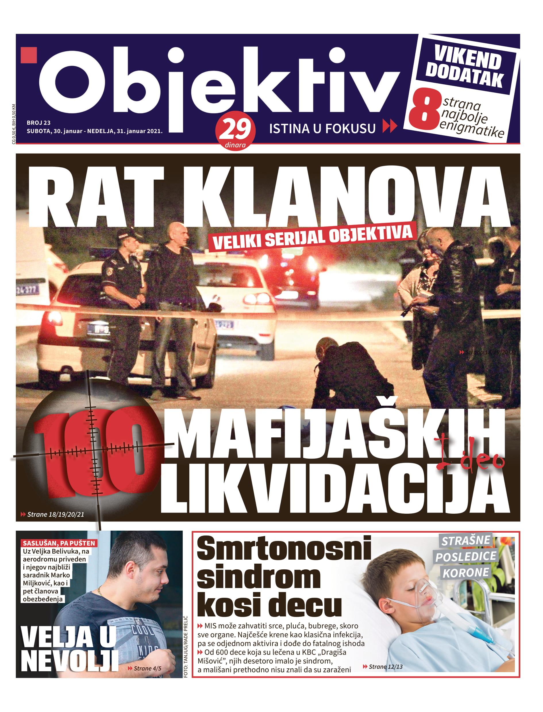 Danas u novinama Objektiv: Smrtonosni sindrom kosi decu, 100 mafijaških likvidacija… (NASLOVNA STRANA)