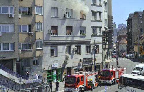 Prvi snimak POŽARA na Zelenom vencu: Ima TEŠKO POVREĐENIH - dramatične scene u centru Beograda (VIDEO)