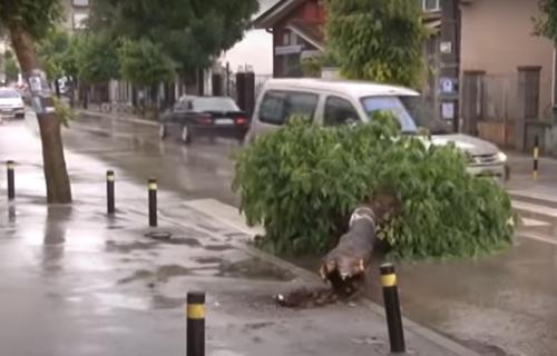 Jako NEVREME pogodilo Vranje! Na ulicama potop, vetar RUŠIO drveće (VIDEO)