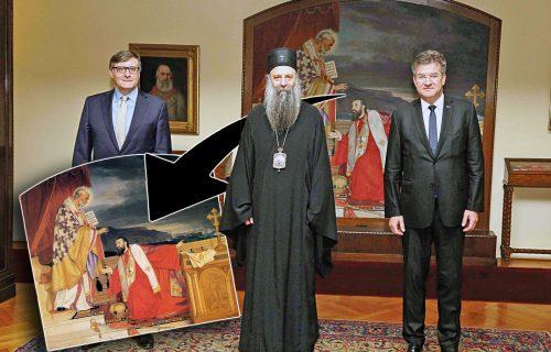 Šta TAČNO SIMBOLIŠE Predićeva slika? Patrijarh nije slučajno baš tu pozirao s Lajčakom i Palmerom (FOTO)