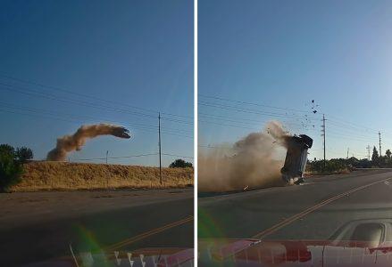 Toyota promašila skretanje i PRELETELA autoput! Putnici vrište, delovi automobila na sve strane (VIDEO)