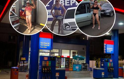 """""""Kapa dole"""": HIT scene na benzinskoj pumpi - muškarci poziraju u ŽENSKOM vešu, razlog je genijalan (FOTO)"""