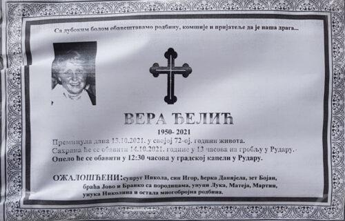 Sahranjena Vera Đelić (71): Porodica se oprostila od žene koja je preminula nakon nasilja ROSU nad Srbima