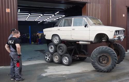 Kultni automobil u NEVEROVATNOM izdanju: Montirali 14 točkova na Ladu i pritisnuli gas (VIDEO)